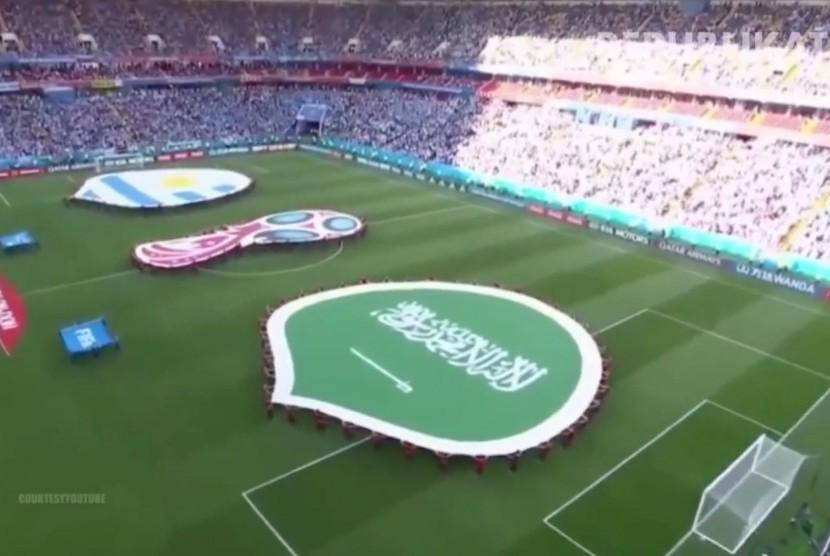 Suasan menjelang partai penyisihan grup Uruguay melawan Arab Saudi, Piala Dunia 2018, Rusia