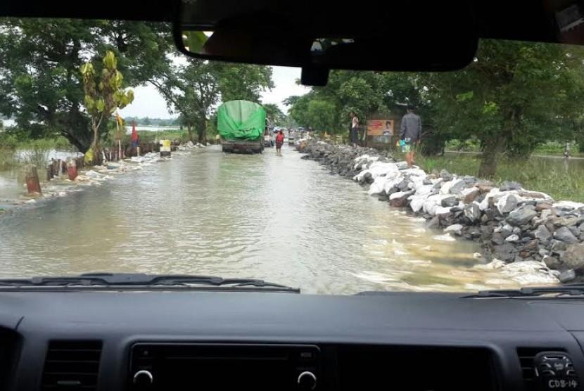 suasana banjir di Myanmar (ilustrasi)