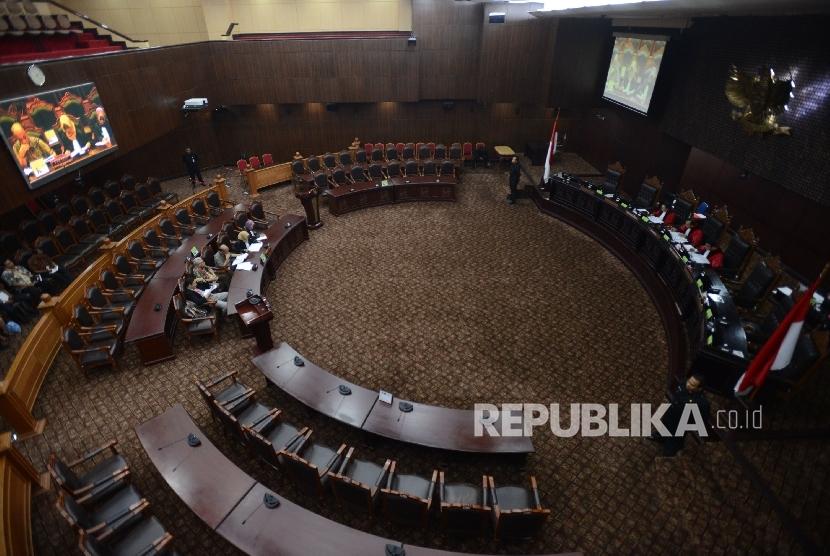 Suasana di ruang sidang Mahkamah Konstitusi (MK).