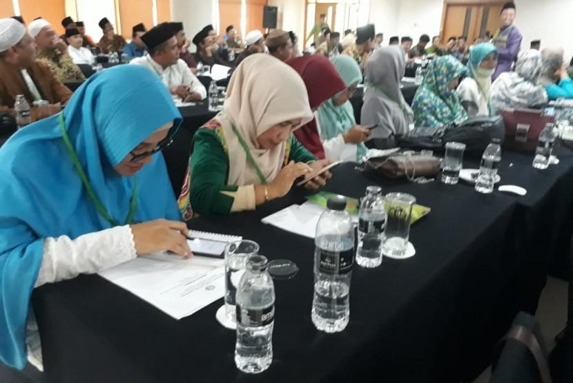 Suasana Kegiatan Penguatan Kader Muballigh dan Muballighah Tingkat Nasional 2019 di Hotel Bumi Wiyata, Depok, Jumat (15/3).