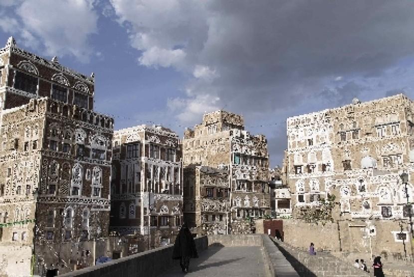 Suasana kota tua Sanaa, Yaman, setelah berkecamuk perang.