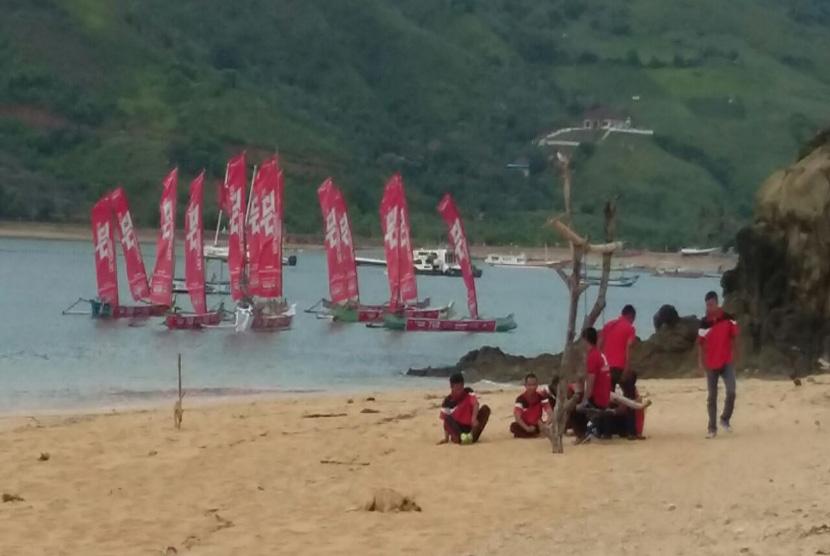 Suasana pantai Kuta Mandalika kabupaten Lombok Timur NTB.