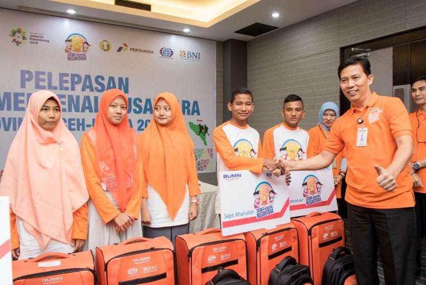 Suasana pelepasan Siswa Mengenal Nusantara (SMN) 2018 Provinsi Aaceh-Papua 2018.
