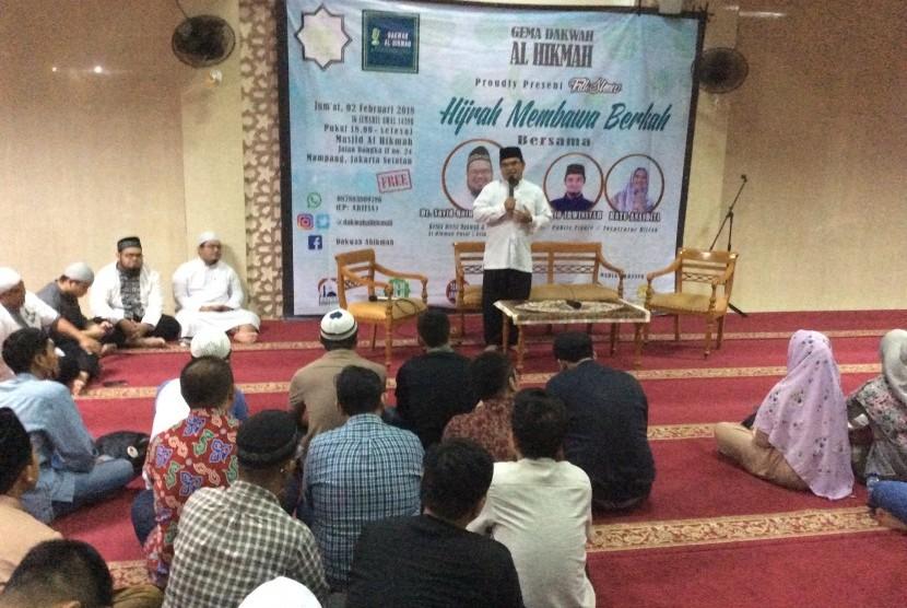 Suasana pengajian Gema Dakwah yang digelar di Masjid Al Hikmah Jakarta, Jumat (2/2).