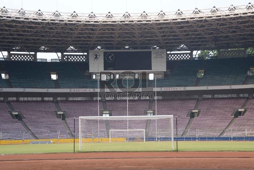 Suasana Stadion Gelora Bung Karno (GBK), Jakarta, Jumat (16/10).