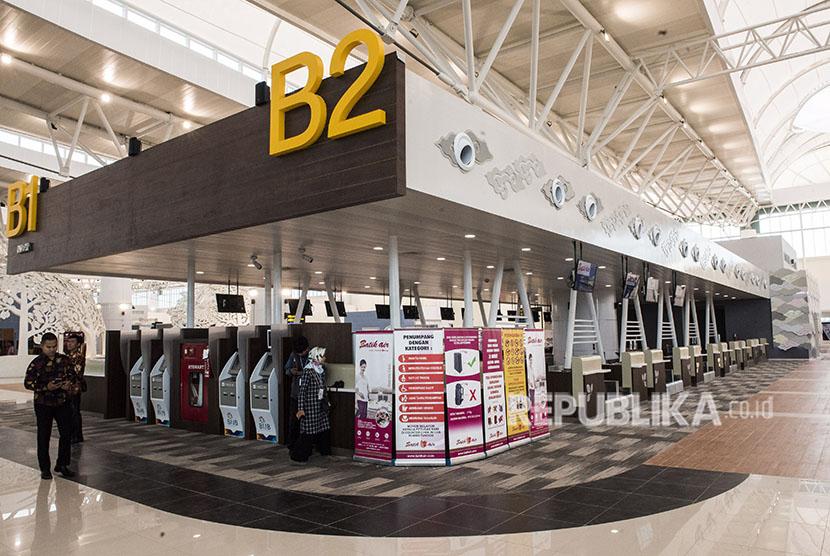 Suasana sudut ruang check in pesawat di Bandara Internasional Jawa Barat (BIJB) Kertajati, Majalengka, Jawa Barat, Kamis (24/5).