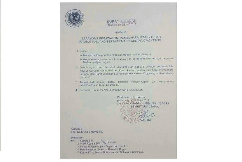 Surat Edaran internal Badan Intelijen Negara (BIN).