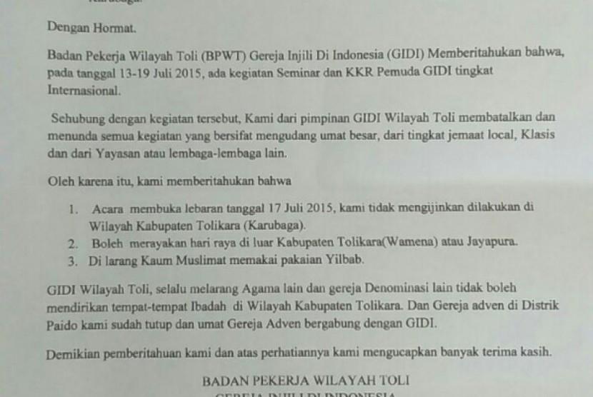 Surat larangan dari GIDI yang menyebar di masyarakat