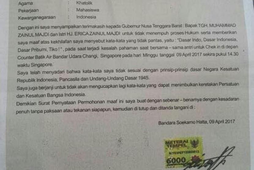 Surat permohonan maaf Steven yang telah memaki Gubernur NTB di Bandara Changi Singapura, Ahad (9/4).