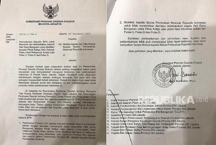 Surat terkait Hak Guna Bangunan untuk pihak ketiga di Pulau C, D, dan G (pulau reklamasi) yang dilayangkan Gubernur DKI Jakarta kepada BPN.