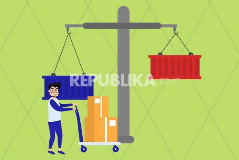 Surplus neraca perdagangan Indonesia.
