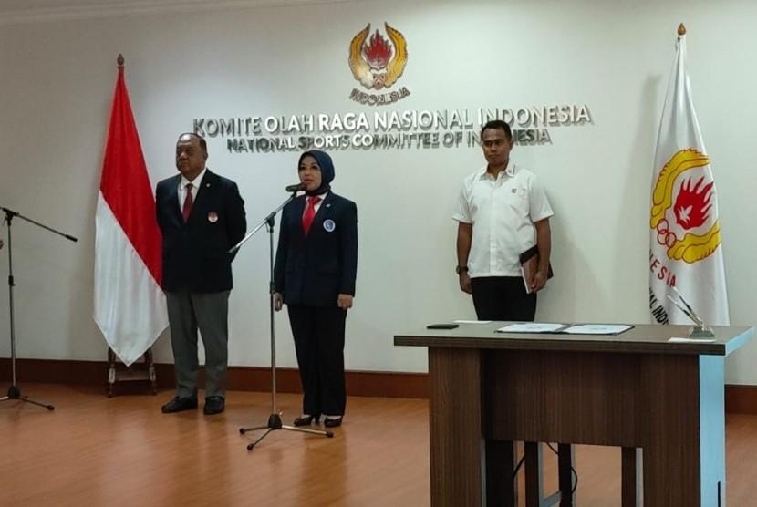 Sylviana Murni dilantik menjadi Ketua Umum PB Persatuan Squash Indonesia masa bakti 2019-2023 di Gedung KONI Pusat, Senin (20/1).