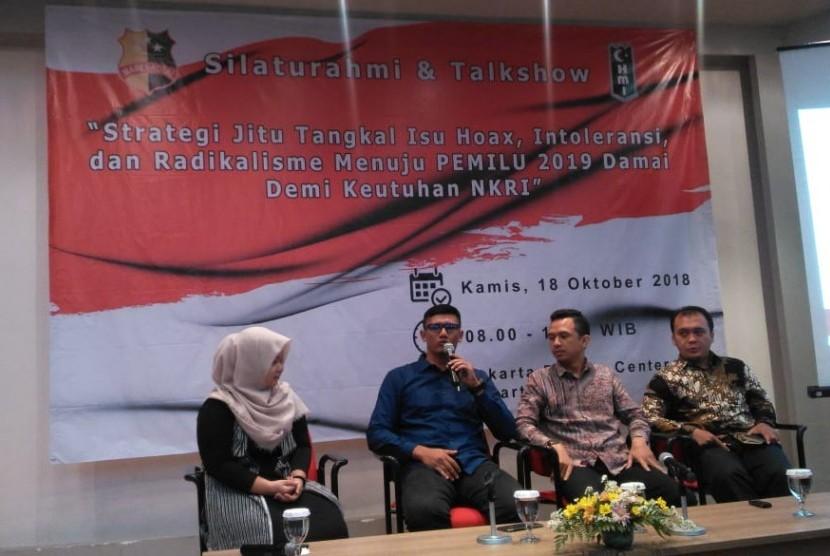 talkshow bertajuk 'Strategi Jitu Tangkal Isu Hoaks, Intoleransi, dan Radikalisme Menuju Pemilu 2019 Damai Demi Keutuhan NKRI' di Gedung Jakarta Design Center, Slipi, Jakarta, Kamis (18/10)