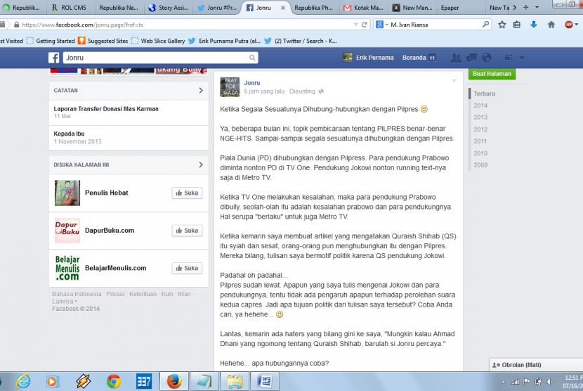 Tampilan artikel Jonru di Facebook.