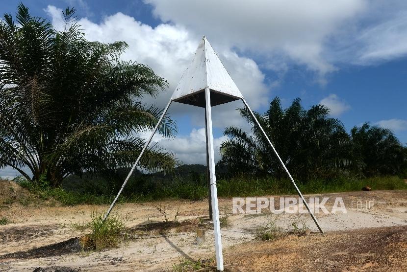 Tanda Perbatasan Indonesia-Malaysia di kawasan Saparan, Bengkayang, Kalimantan Barat, Kamis (28/1).  (Republika/Wihdan)