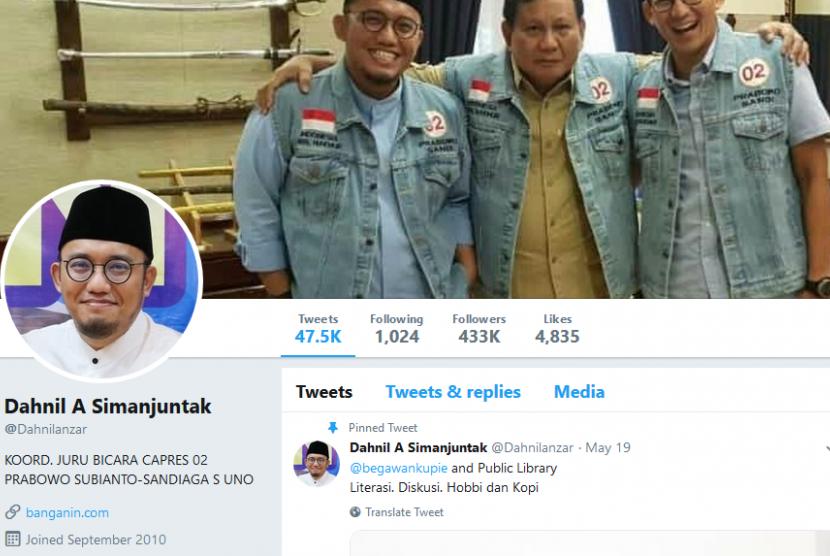Tangkapan layar akun Twitter Dahnil Anzar Simanjuntak