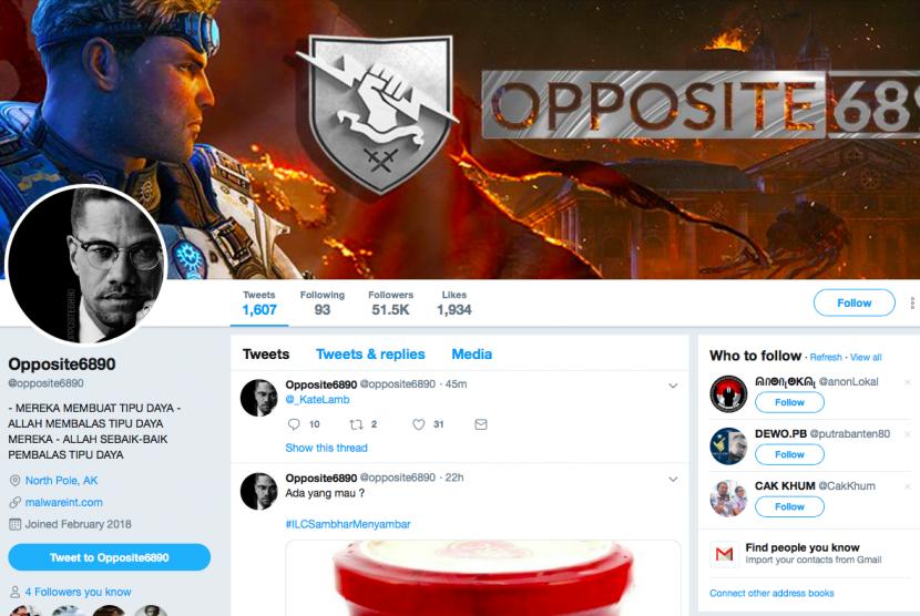 Tangkapan layar akun Twitter Opposite6890.