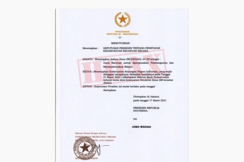 Surat Darurat Keuangan Negara: Hoaks!