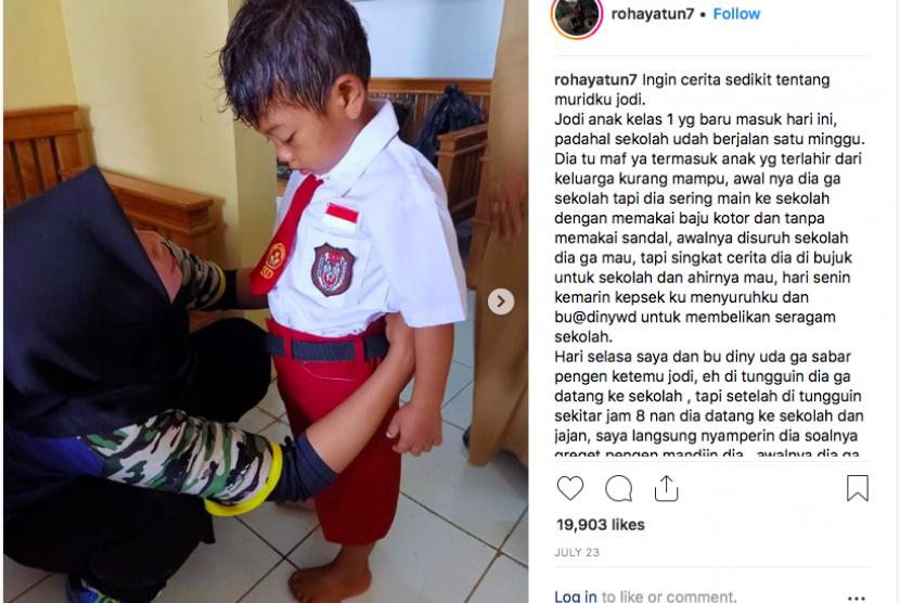Tangkapan layar instagram Rohayatun yang viral