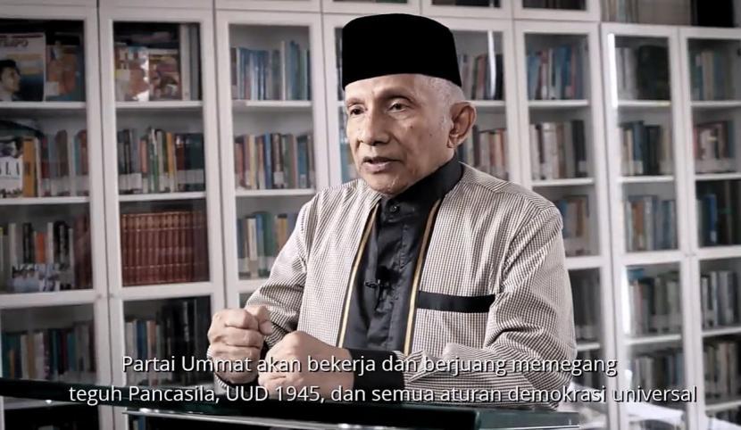 Tangkapan layar video mantan Ketua MPR Amien Rais yang mengumumkan nama partai barunya, yakni Partai Ummat, Kamis (1/10).
