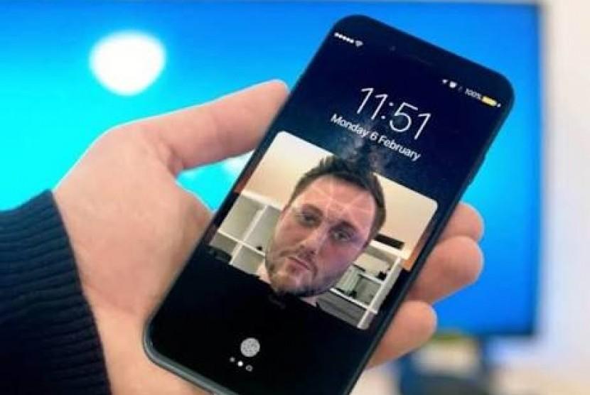 Technologi Face ID. Ilustrasi