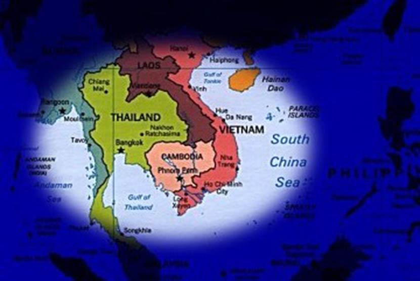 Peta Indochina yang dimiliki empat negara yaitu Thailand, Kamboja, Laos dan Vietnam (ilustrasi)