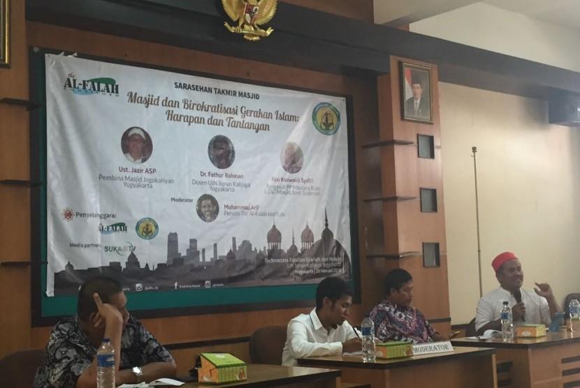 The al-Falah Institute Yogyakarta menggelar sarasehan takmir masjid bertema Masjid dan Birokratisasi Gerakan Islam. Dalam kegiatan yang digelar di Universitas Islam Negeri (UIN) Sunan Kalijaga (Suka) pada Rabu (28/2).