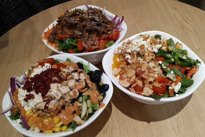 Tiga menu baru SaladStop! tersaji dalam konferensi pers ke media, Rabu (16/1), di Jakarta.