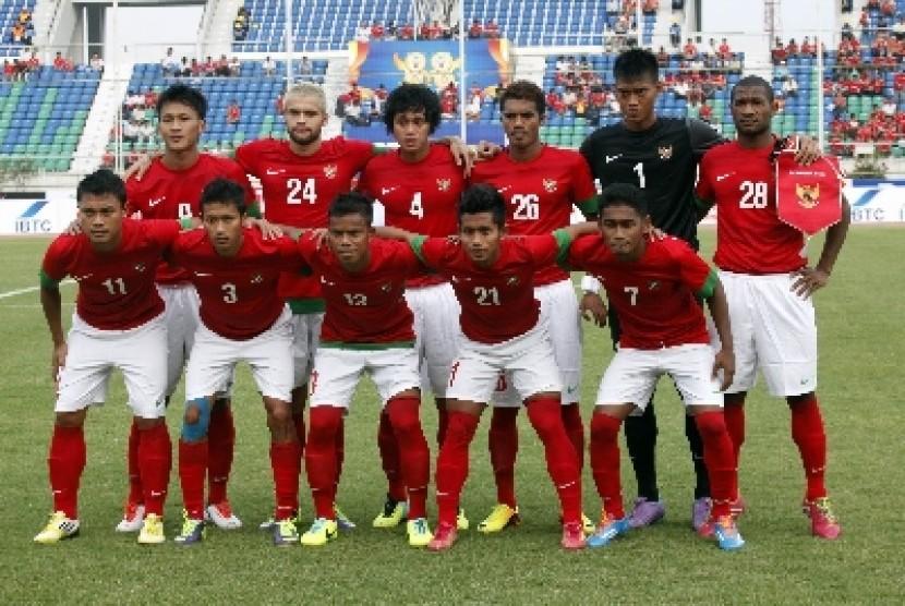 Timnas U-23 Indonesia yang berlaga di SEA Games 2013 Myanmar.