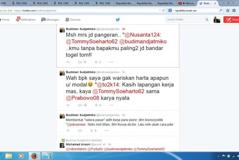 twit war antara Budiman Sudjatmiko dan Tommy Soeharto
