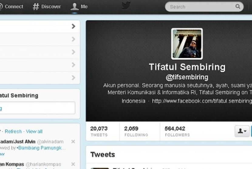 Twitter Menkominfo Tifatul Sembiring.