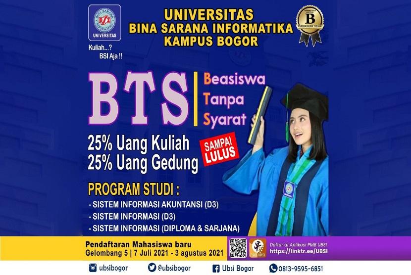 UBSI Kampus Bogor memberikan solusi keterbatasan biaya dengan beasiswa BTS