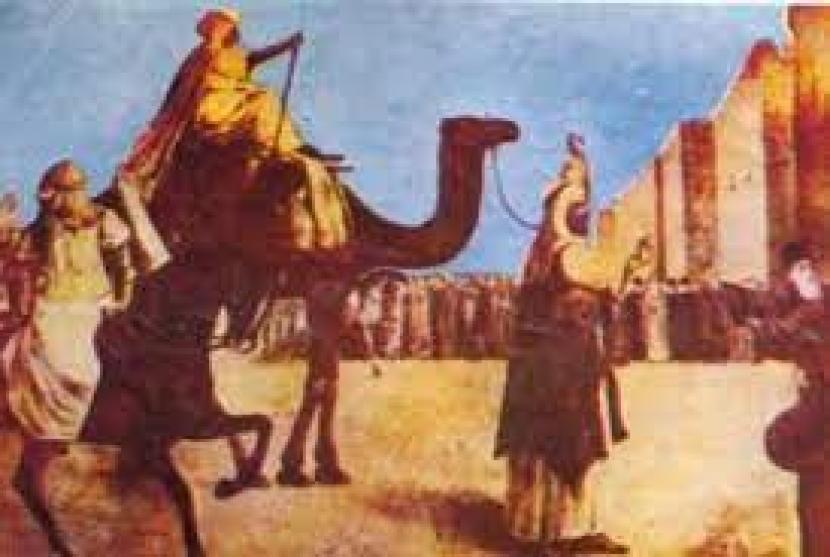 Khutbah Umar bin Khattab Untuk Menenangkan Rakyatnya. Foto:   Umar bin Khattab menuntun unta yang ditunggangi pemantunya saat masuk ke Yerusalem. (ilustrasi)