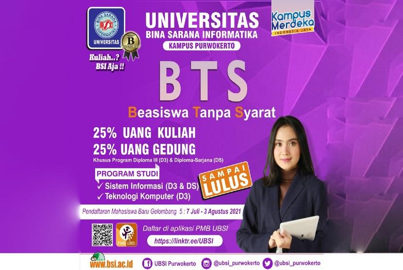 Universitas BSI (Bina Sarana Informatika) kampus Purwokerto memberikan beasiswa pada setiap calon mahasiswa yang ingin menempuh pendidikan.