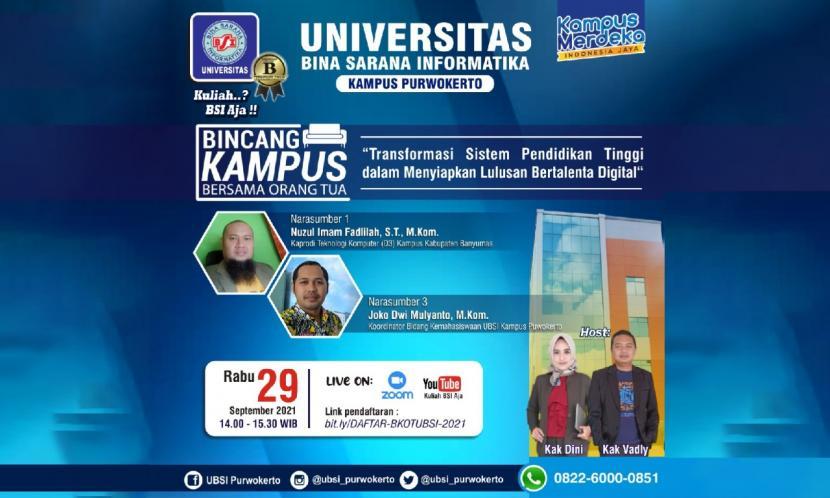 Universitas BSI (Bina Sarana Informatika), menyelenggarakan Pengenalan Kehidupan Kampus bagi Mahasiswa Baru (PKKMB) tersusun dalam 5 rangkaian acara. Salah satunya adalah BKOT (Bincang Kampus Bersama Orang Tua).