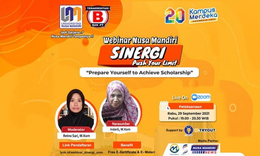 Universitas Nusa Mandiri (UNM) akan menggelar webinar Sinergi terkait beasiswa pada Rabu, 29 September 2021.