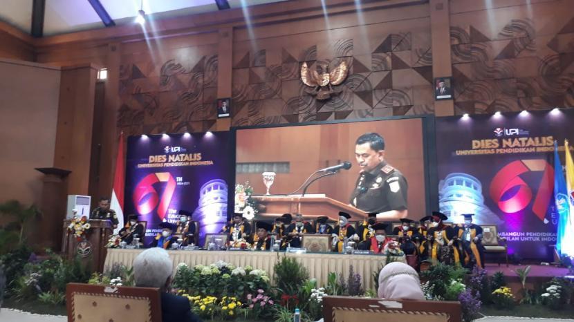 Dies Natalis ke-67 UPI di gelar di Aula Ahmad Sanusi, Jalan Setiabudi, Kota Bandung, Kamis (21/10).