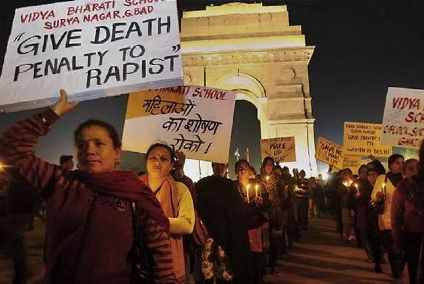 Unjuk rasa antipemerkosaan di New Delhi, India