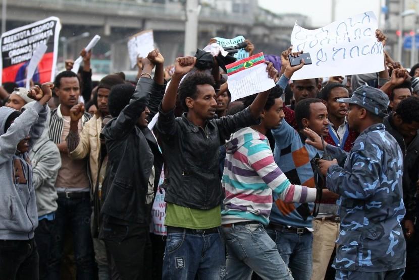 Unjuk rasa di Addis Abbaba, Ethiopia, berakhir ricuh