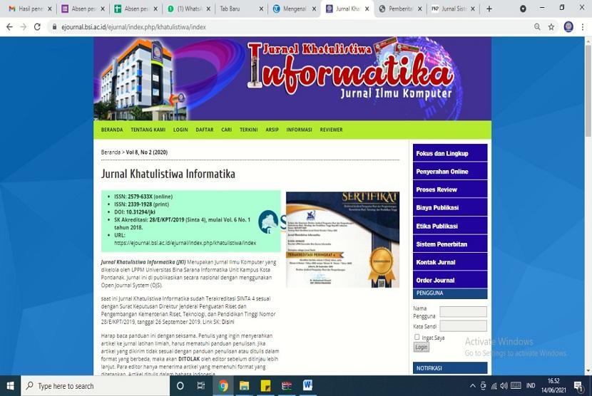 Untuk memfasilitasi dosen dalam mempublikasikan hasil penelitiannya, Universitas BSI (Bina Sarana Informatika) Kampus Pontianak mengelola dua jurnal ilmiah Nasional.