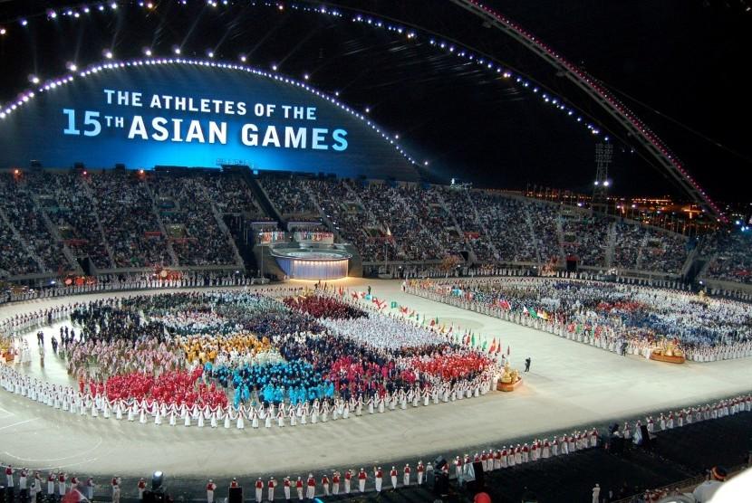 Upacara pembukaan Asian Games 2006 di Doha, Qatar.