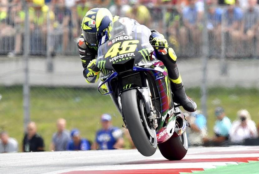 Valentino Rossi saat balapan MotoGP Austria di Sirkuit Red Bull Ring, Ahad (11/8).