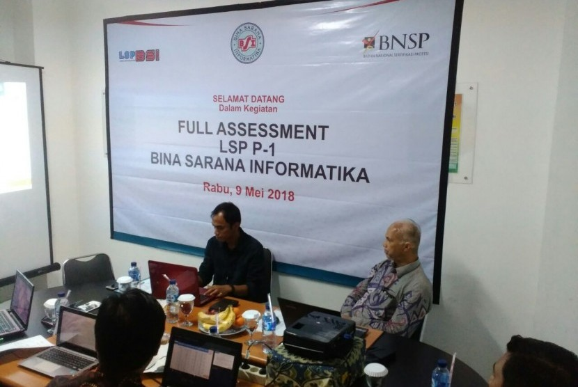 Visitasi full asesmen asesor BNSP BSI ke Lembaga Sertifikasi Profesi (LSP) BSI.