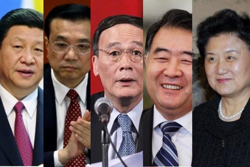 Wajah Kandidat Pemimpin Cina kiri ke kanan, Xi Jinping, Li Keqiang, Li Yunshan, Wang Yang, Li Yuandong
