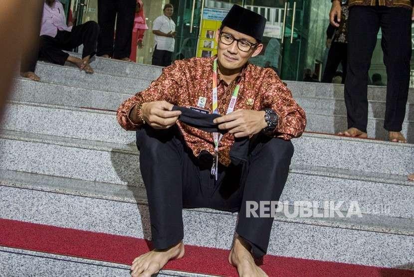 Wakil Gubernur DKI Jakarta Sandiaga Uno beraktivitas di Balai Kota, Jakarta, Kamis (9/8).