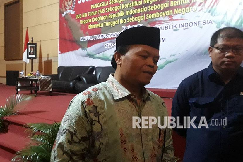 Wakil Ketua MPR RI, Hidayat Nur Wahid menjadi pemateri dalam kegiatan Sosialisasi Empat Pilar di Hotel Merdeka, Madiun, Jawa Timur, Kamis (19/4) malam.