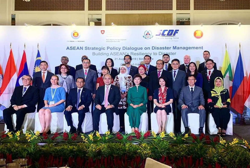 Wakil Ketua Muhammadiyah Disaster Management Center (MDMC),  Rahmawati Husein (hijab), diminta berbicara di Building ASEAN Resiliency to  Disaster di Singapura, Rabu (21/8).