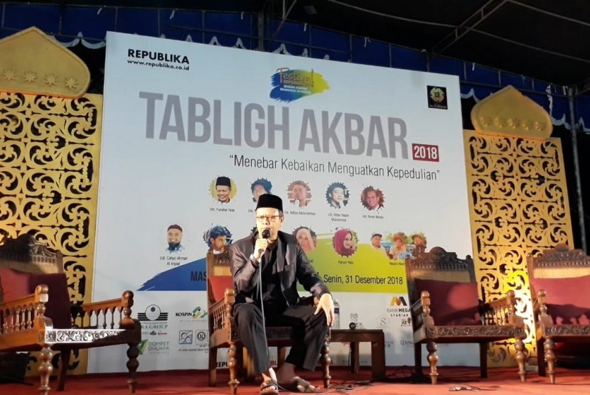 Wakil Ketua Umum Majelis Ulama Indonesia (MUI), Prof Yunahar Ilyas, saat memberi tausiyah pada tabligh akbar yang menjadi rangkaian Festival Republik 2018 di Masjid Al Furqan Yogyakarta, Selasa (1/1).