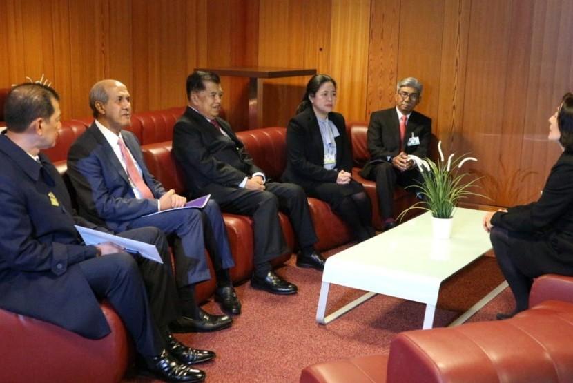 Wakil Presiden Jusuf Kalla menghadiri forum PBB, Global Platform on Disaster Risk Reduction (UNDRR) di Internasional Conference Center Geneva (CICG), Jenewa, Swiss, Kamis (16/5).