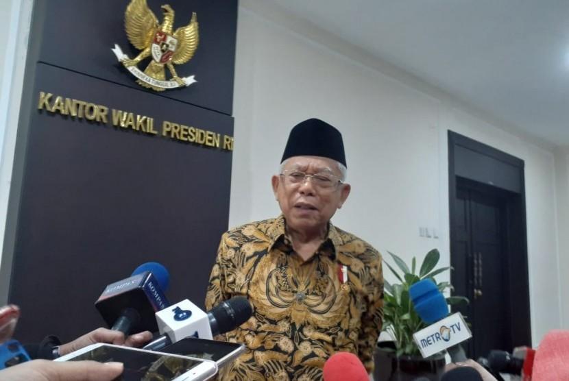 Wakil Presiden Maruf Amin saat diwawancarai wartawan di Kantor Wakil Presiden, Jakarta, Rabu (22/1).
